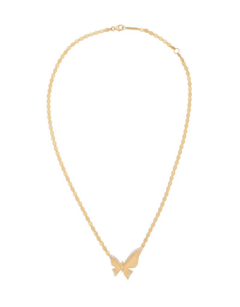 Lana Yellow Gold Diamond Large Butterfly Pendant Necklace