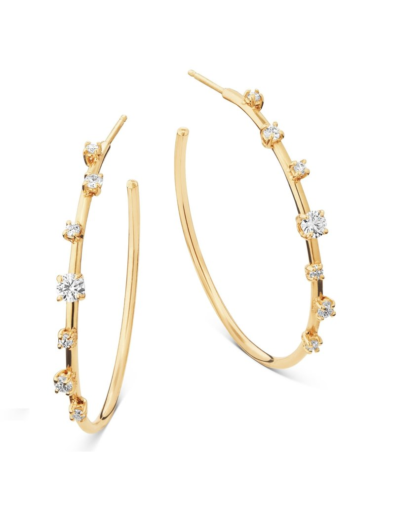 Lana Yellow Gold Scattered Diamond Hoops