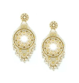 Miguel Ases White Open Circle Fringe Earrings