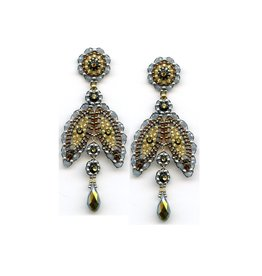 Miguel Ases Beaded Petal Drop Earrings