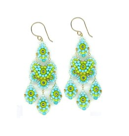 Miguel Ases Turquoise & Green Triple Drop Earrings