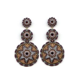 Miguel Ases Multi Color Triple Circle Drop Earrings