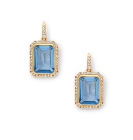 Julie Vos Clara Luxe Earring Gold Chalcedony Blue