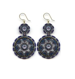 Miguel Ases Blue & Grey Double Drop Earrings