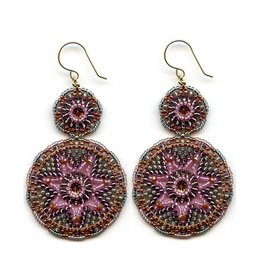 Miguel Ases Pink & Grey Double Drop Earrings