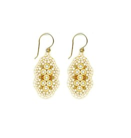 Miguel Ases Small White & Gold Drop Earring