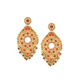 Miguel Ases Large Gold & Coral Circle Earring
