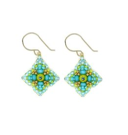 Miguel Ases Turquoise & Green Flower Earrings