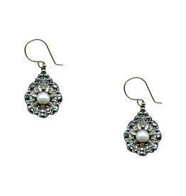 Miguel Ases Pyrite Earrings with Pearl Center