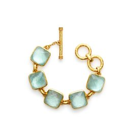Julie Vos Catalina Bracelet Gold Iridescent Aquamarine Blue
