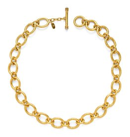 Julie Vos Catalina Small Link Necklace Gold Pearl