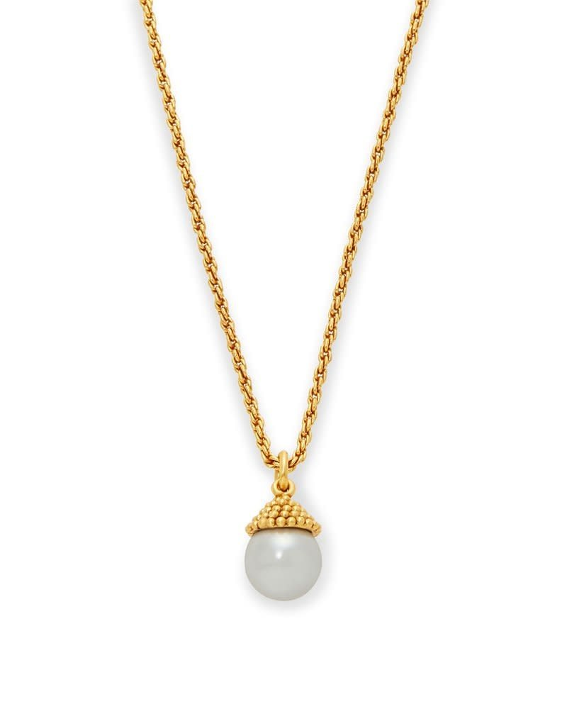 Julie Vos Florentine Charm Necklace Gold Pearl