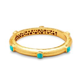 Julie Vos Catalina Hinge Bangle Gold Turquoise Blue