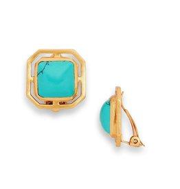 Julie Vos Geneva Clip-On Gold Turquoise