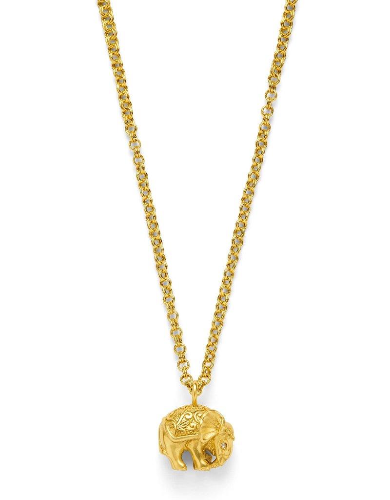 Julie Vos Elephant Pendant Gold Zircon
