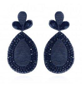 Navy Fushan Lights Teardrop Earrings