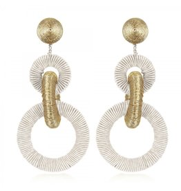Pale Gold Mix Triple Tiered Hoop Earrings