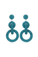 Silk Triple Tiered Hoop Earrings - Turquoise