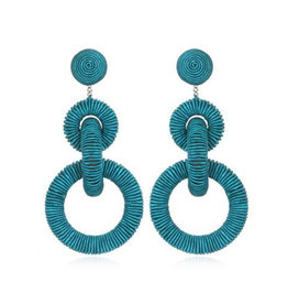Silk Triple Tiered Hoop Earrings - Turquoise