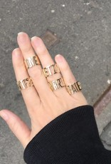 Eden Presley Yellow  Gold Let it Be Mantra Ring