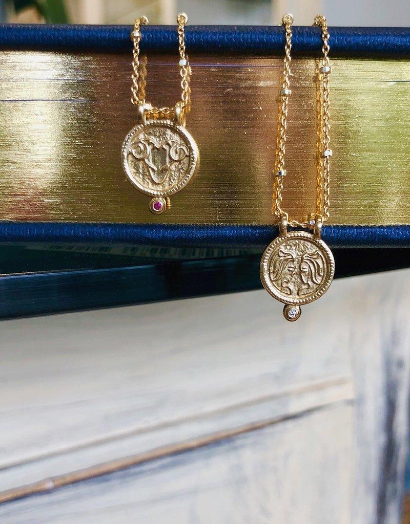 Leo Zodiac Medallion Necklace