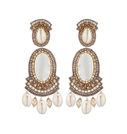 Puka Shell Large Drop Earrings-Champagne