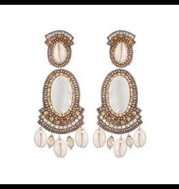 Puka Shell Large Drop Earrings-Champagne