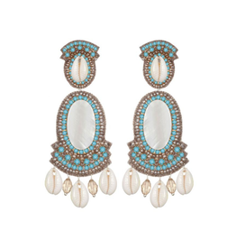 Puka Shell Large Drop Earrings-turquoise