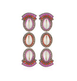 Puka Shell Drop Earrings-Fusia/Coral