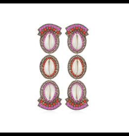 Puka Shell Drop Earrings-Fusia/Coral