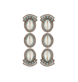 Puka Shell Drop Earrings-turquoise/cobalt