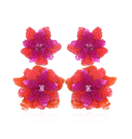 Oaxaca Flower Drop Earrings-Fuchsia/Coral