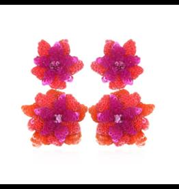 Oaxaca Flower Drop Earrings-Fuchsia/Coral