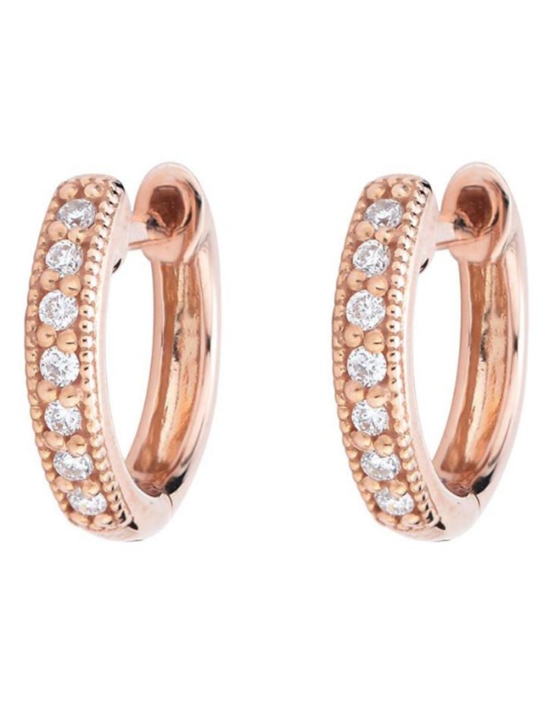 Jude Frances Rose Gold Diamond Huggie Hoop