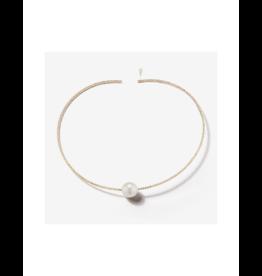 Mizuki Single Pearl Gold Sparkle Collar