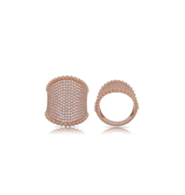 Luvente Rose Gold Wide Pave Diamond Ring
