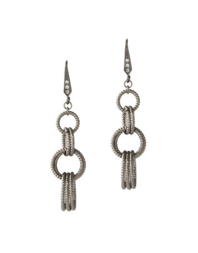 Theia Gunmetal Cascade Diamond Earrings