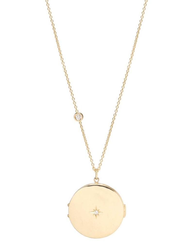Zoe Chicco Round Locket with Diamond Star