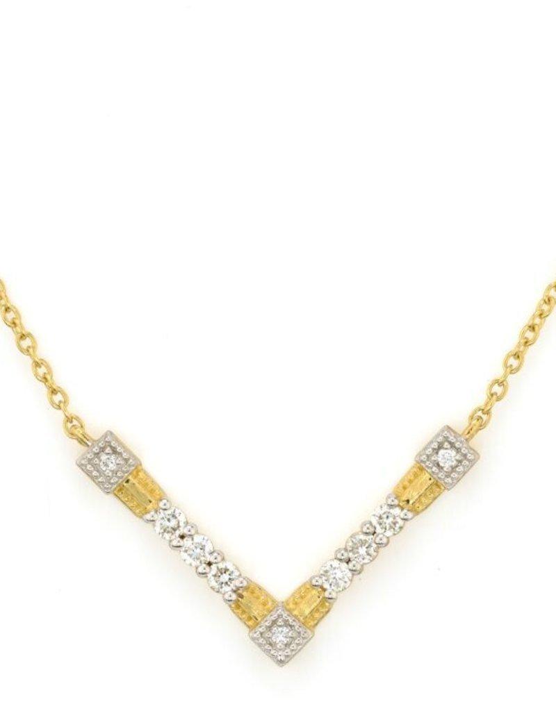 Jude Frances 18k yg lissie pave V necklace