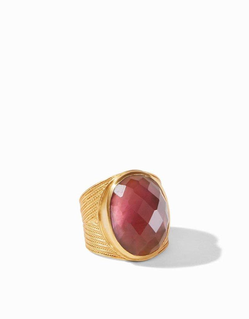 Julie Vos Verona Statement Ring Gold Iridescent Bordeaux - Size 8 (Adjustable)