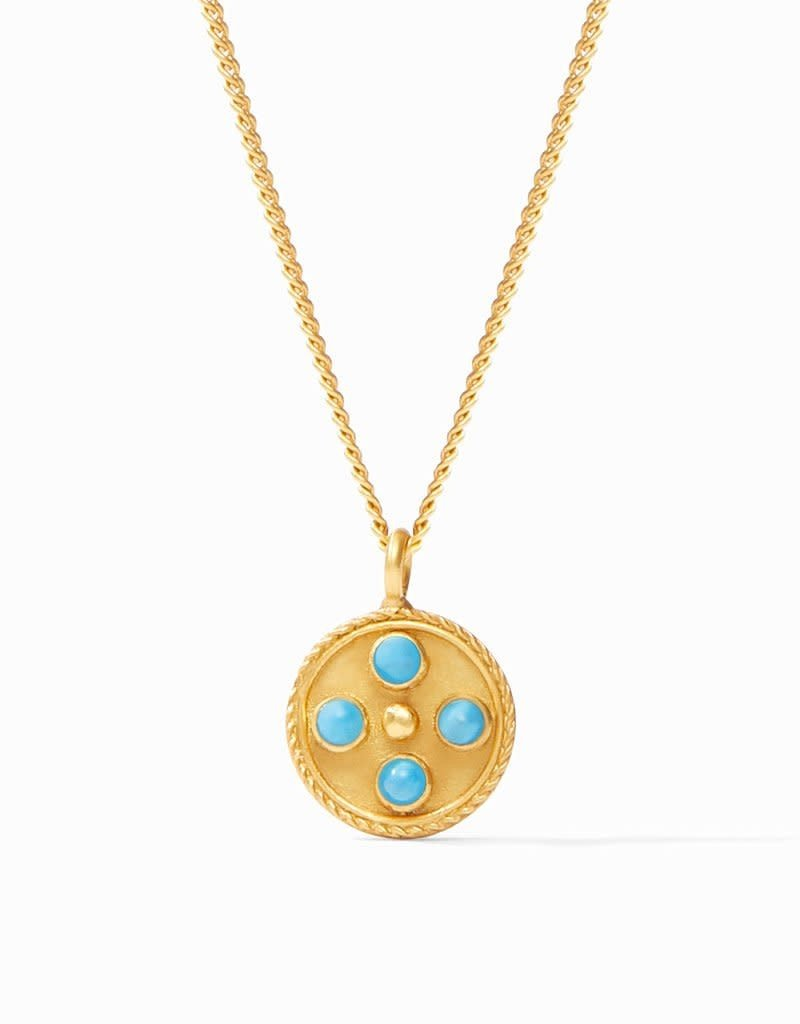 Julie Vos Paris Charm Necklace Gold Sapphire Blue