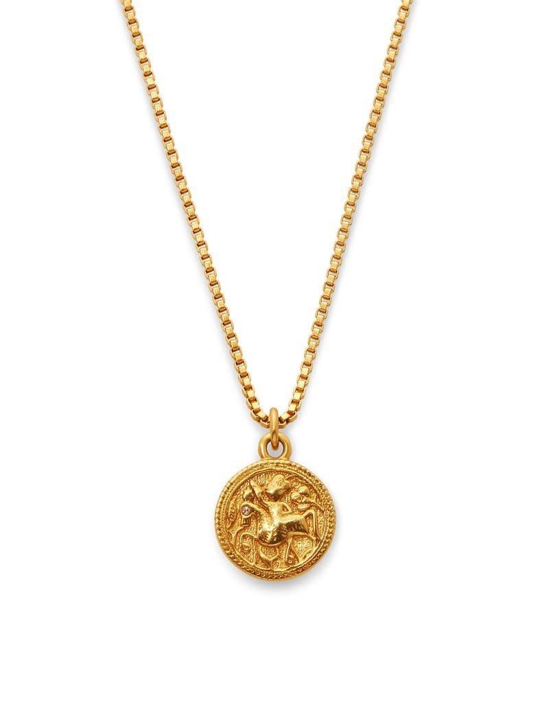 Julie Vos Coin Charm Necklace Gold Cz