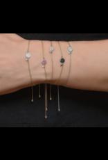 Petite Pave White Diamond Circle Chain Bracelet
