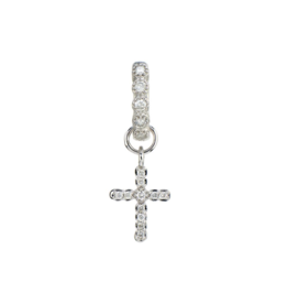 White Gold Petite Pave Diamond Cross Charm