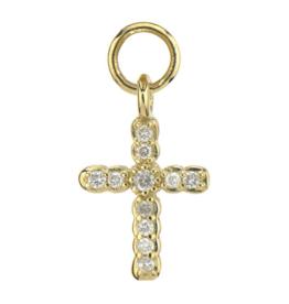 Jude Frances Yellow Gold Petite Pave Diamond Cross Charm