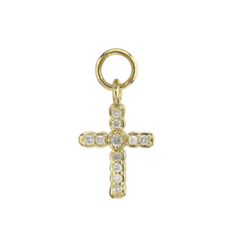 Yellow Gold Petite Pave Diamond Cross Charm
