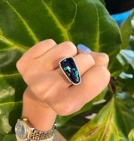 14KR Azurite Malachite Diamond halo ring