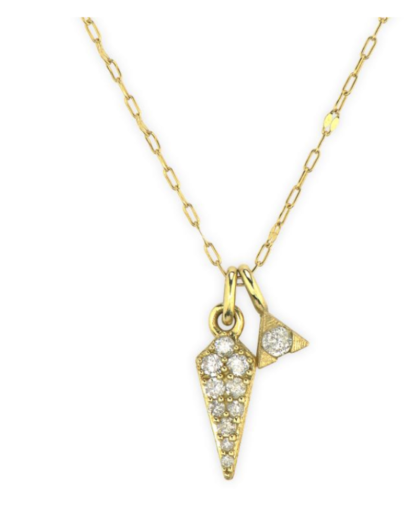 Jude Frances Petite Pave Diamond Dagger Pendent- YG