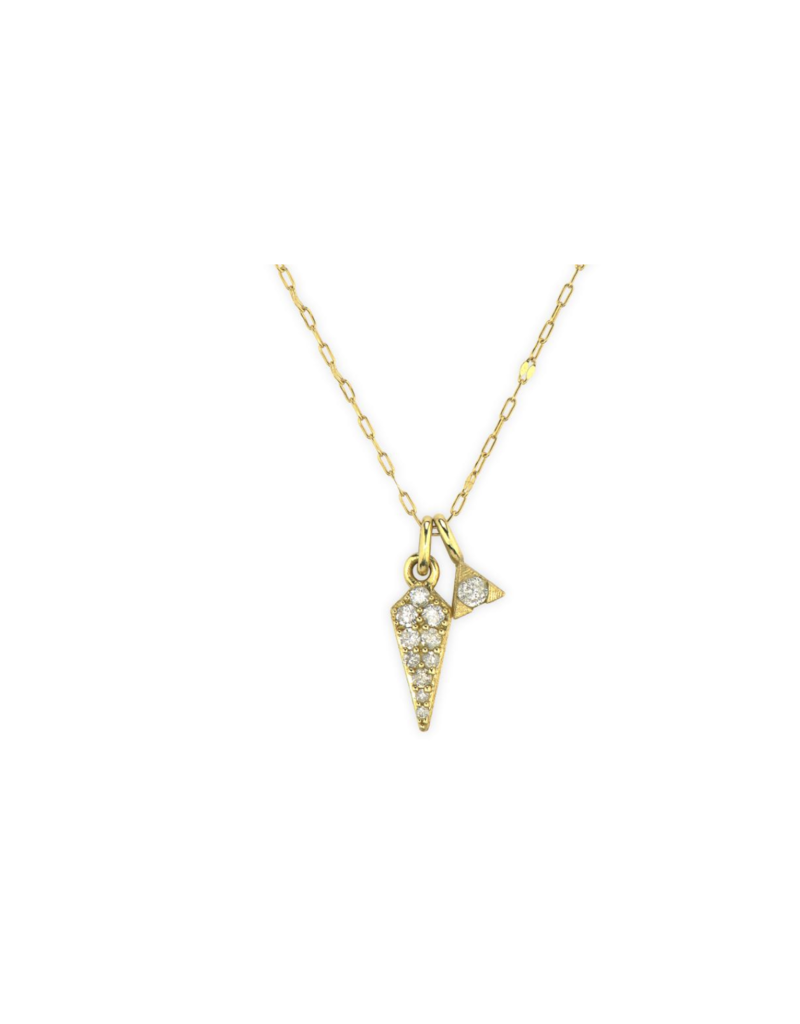 Petite Pave Diamond Dagger Pendent- YG