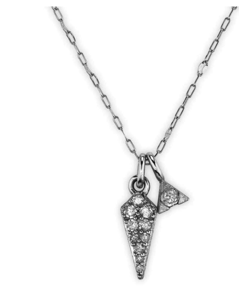 Jude Frances Petite Pave Diamond Dagger Pendant- WG